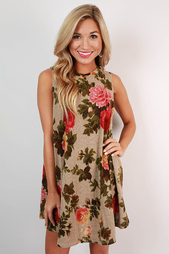 Into The Wild Floral Dress in Oatmeal