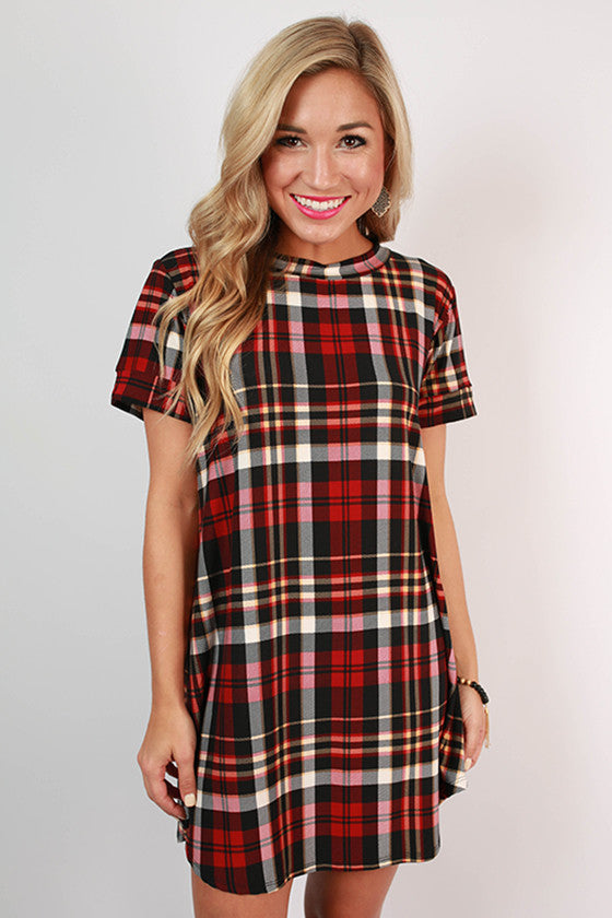 Wine & Dine Plaid Shift Dress