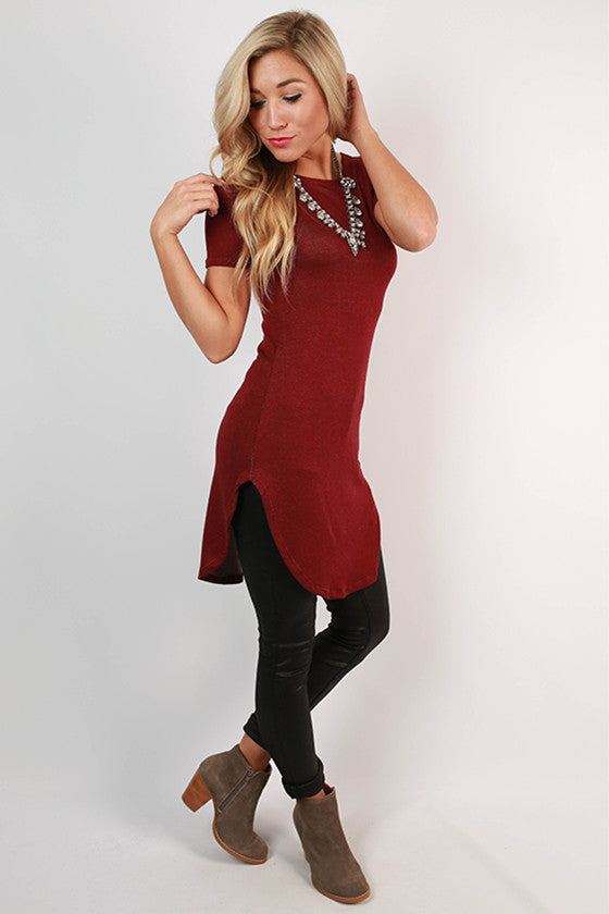 The Royal Standard Tunic Tee in Maroon