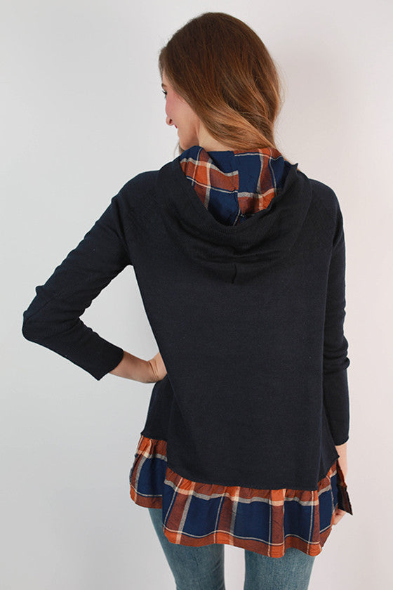 Autumn Sunrise Plaid Trim Sweater in Navy