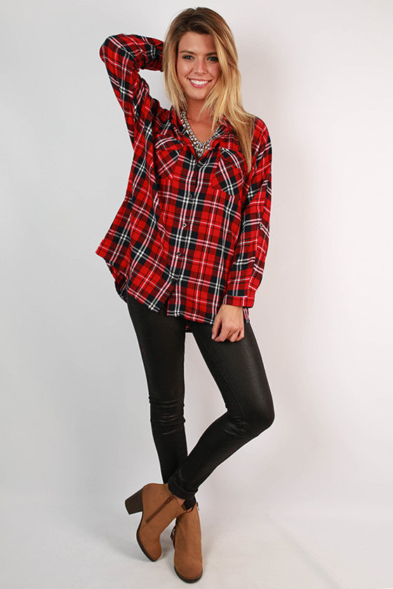 Down by The River Button Up Plaid Top