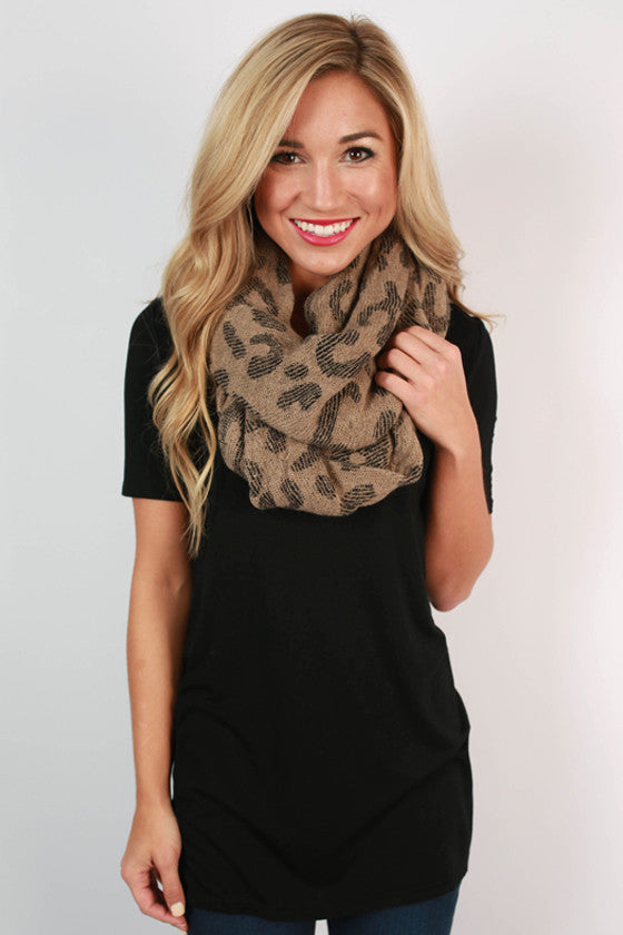 Cheetah So Pretty Infinity Scarf in Taupe