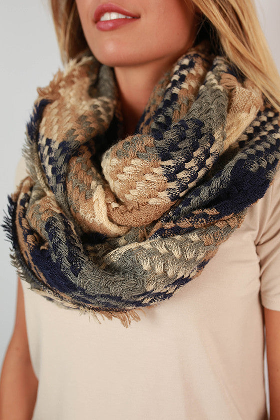 Call It Cozy Plaid Infinity Scarf in Navy