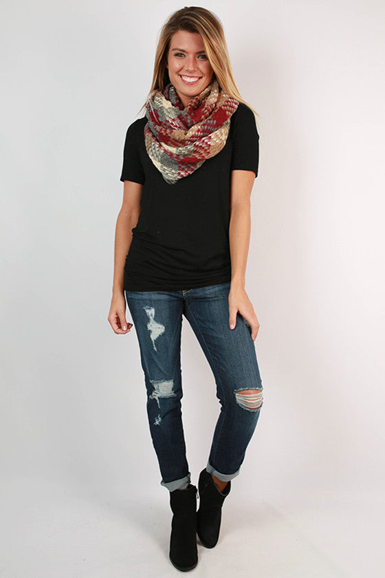Call It Cozy Plaid Infinity Scarf in Sangria