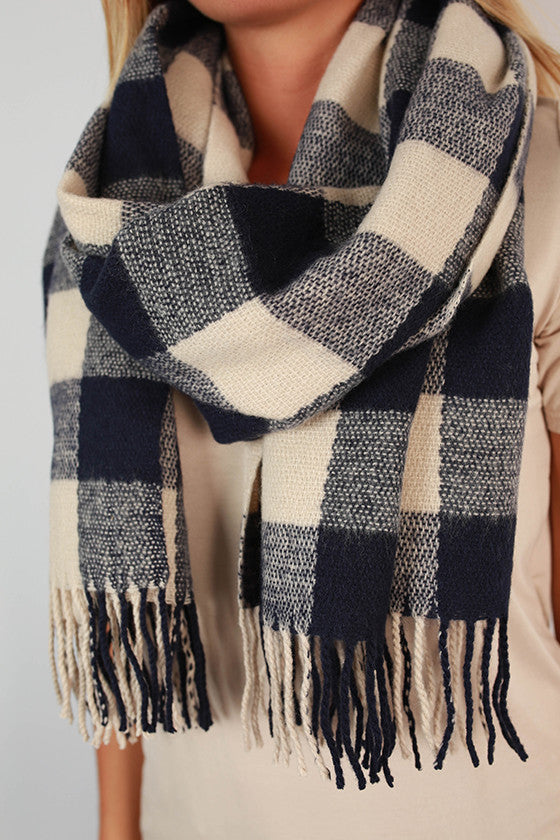 Paris In The Fall Plaid Scarf in Navy