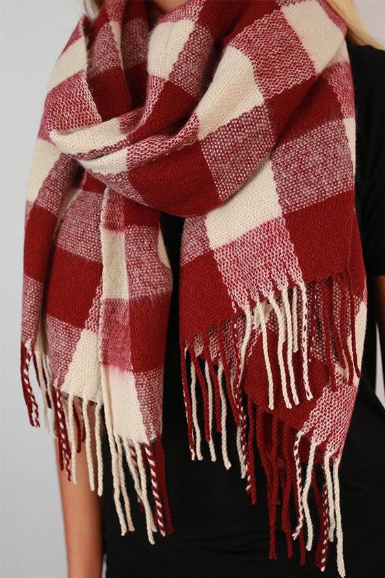 Paris In The Fall Plaid Scarf in Cabernet
