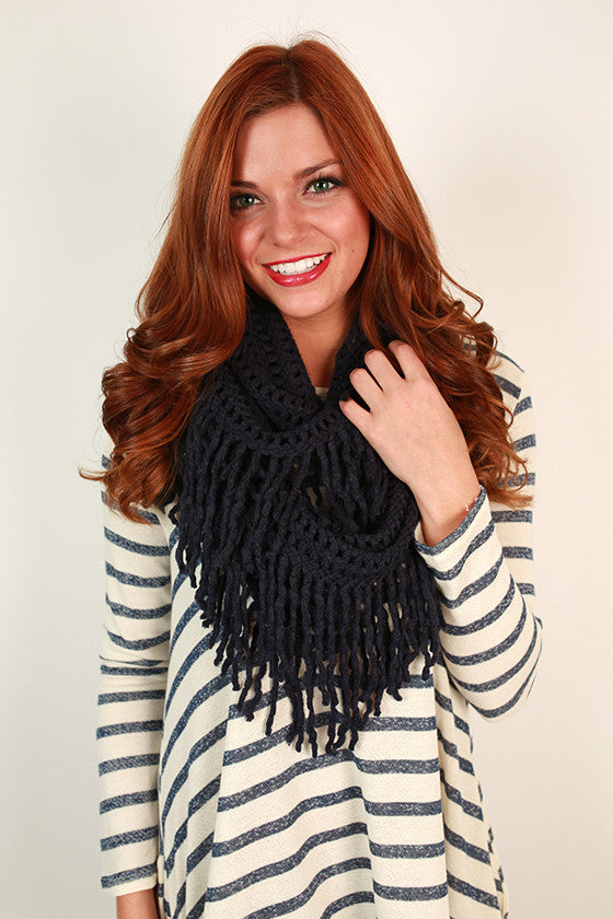 Cozy Cuddles Infinity Scarf in Navy