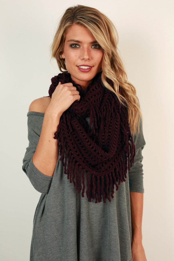 Cozy Cuddles Infinity Scarf in Maroon