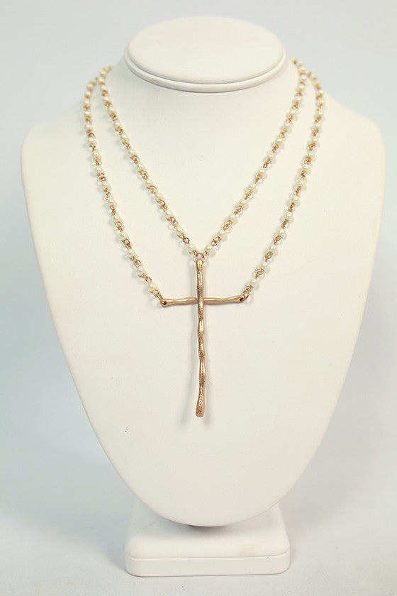 Layered Love Cross Necklace in Ivory
