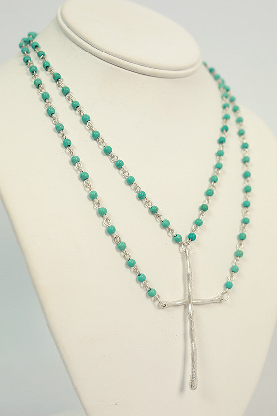 Layered Love Cross Necklace in Turquoise