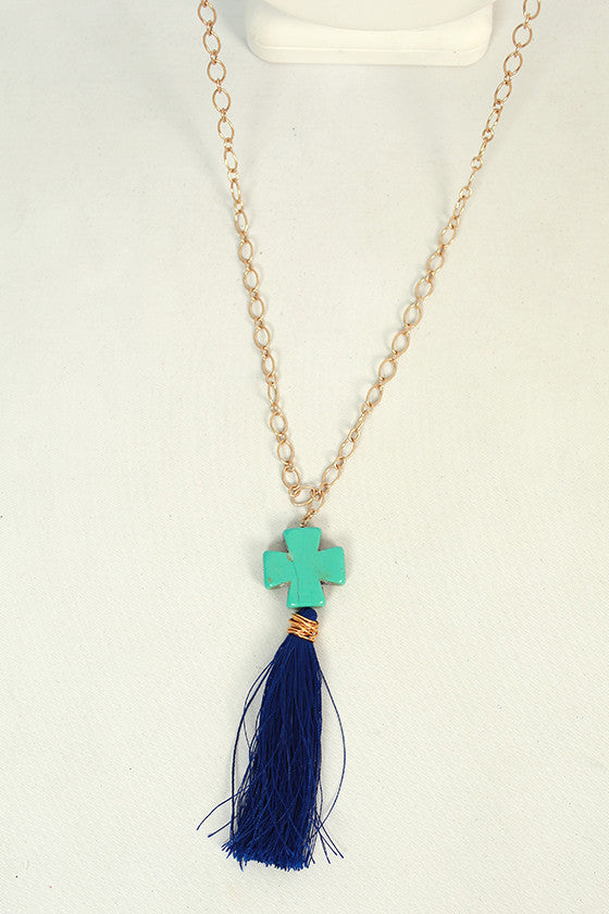 Time For Tassels Necklace in Royal Blue