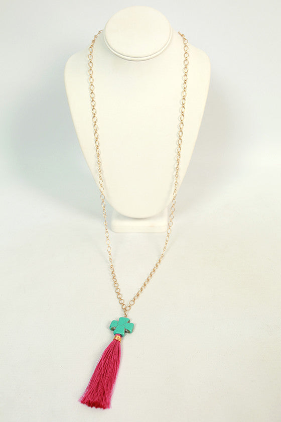 Time For Tassels Necklace in Magenta