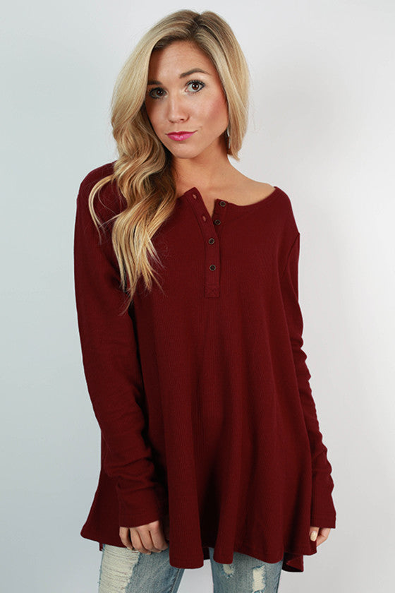 Keeping Traditions Thermal Swing Top in Ruby Wine