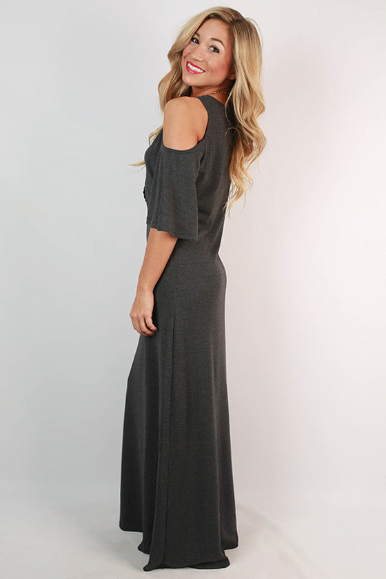 Round of Applause Maxi Dress in Charcoal