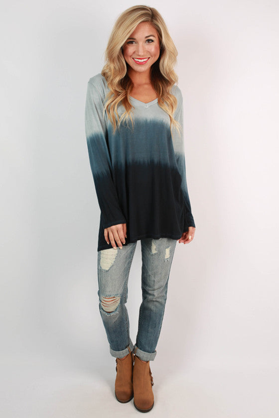 Boost Your Bliss Ombre Top in Navy