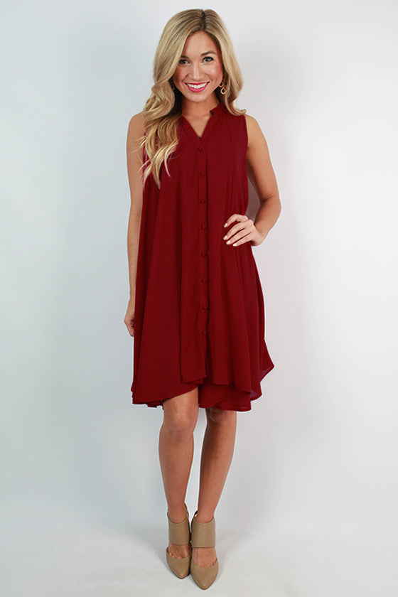 Sunset in Savannah Shift Dress in Sangria