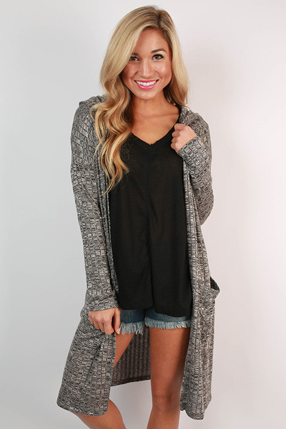 Along For The Ride Pocket Cardigan in Black