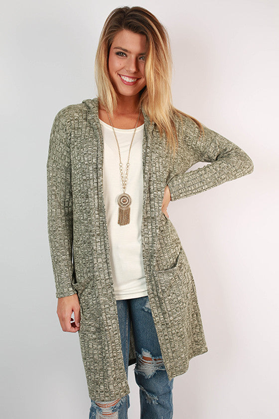 Along For The Ride Pocket Cardigan in Hunter Green