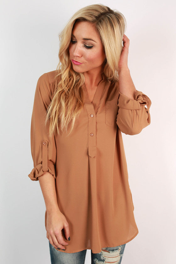 Perfection Roll Tab Top in Light Brown