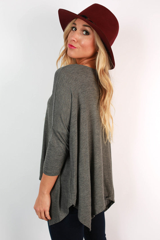 Good Conversation Top in Dark Grey