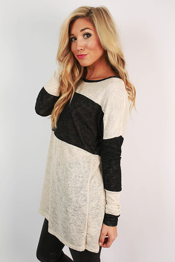Chai Latte Cuddles Tunic Sweater in Stone