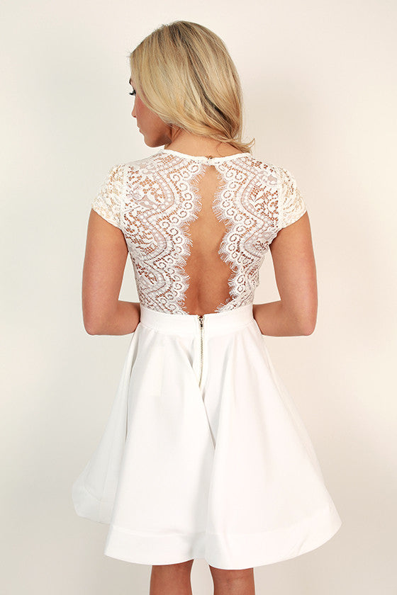 Grand Entrance Lace Open Back Dress in White