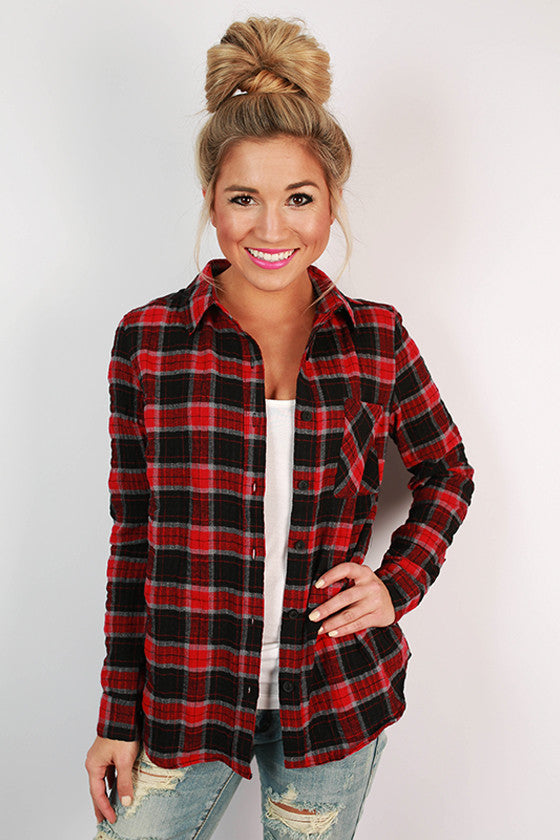 All Together Forever Plaid Top in Red