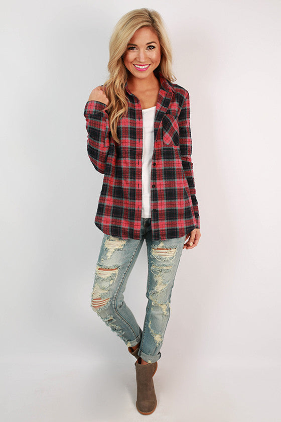 All Together Forever Plaid Top in Blush