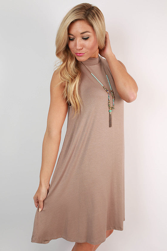 Sipping Bubbly Shift Dress in Taupe