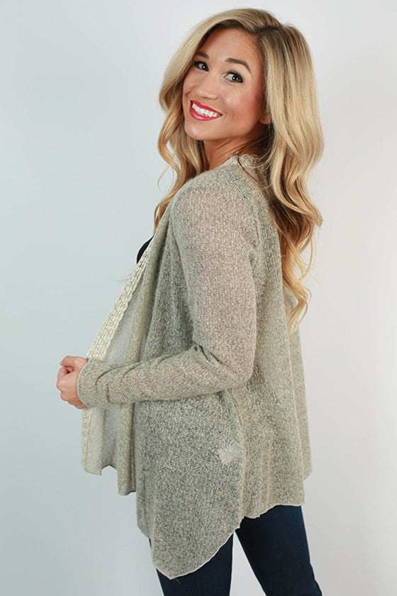 Crisp Autumn Breeze Crochet Trim Cardigan