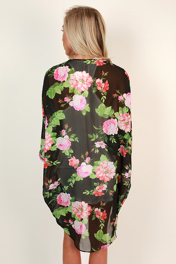 Flying First Class Floral Overlay in Black
