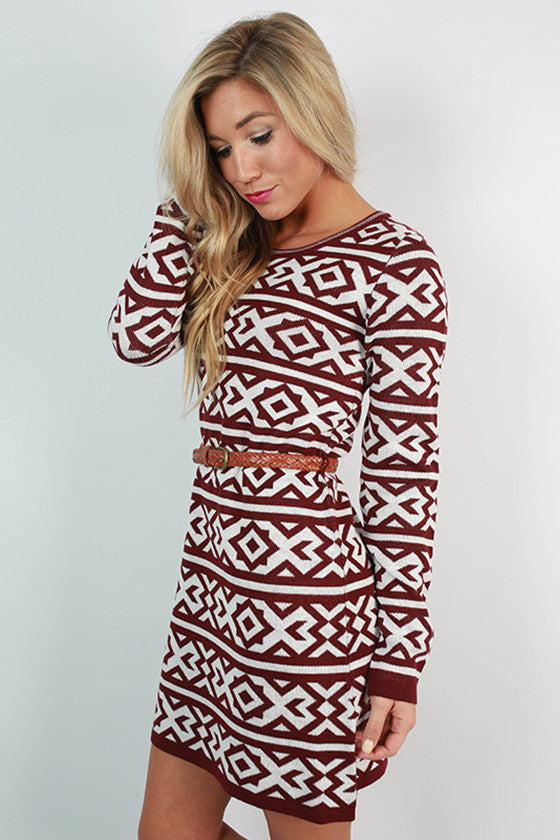 Telluride Sweater Dress in Maroon