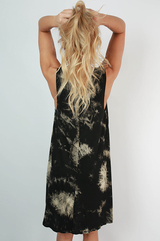Road Trip Ready Tie Dye Tank Dress in Black