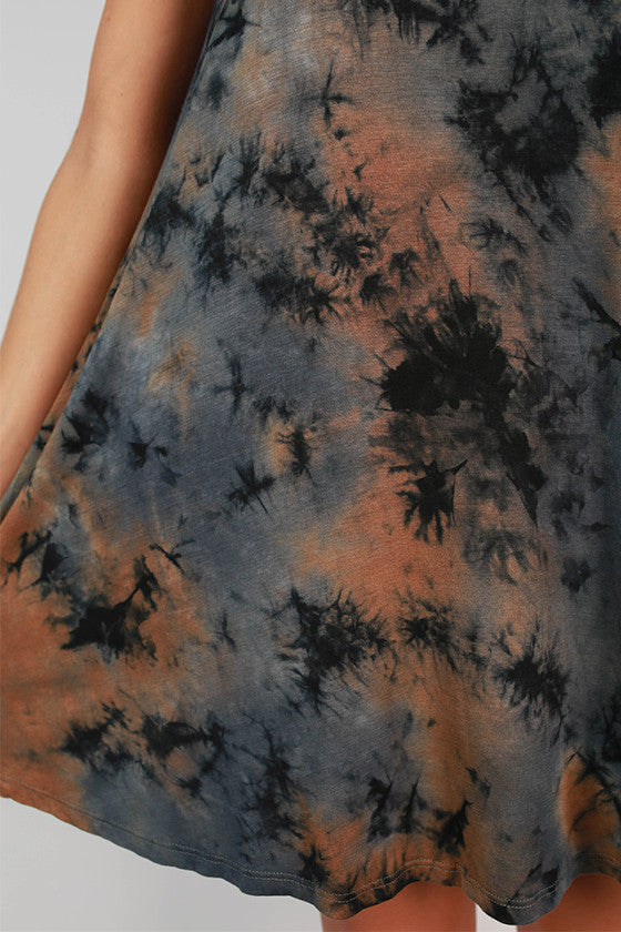 Road Trip Ready Tie Dye Tank Dress in Slate