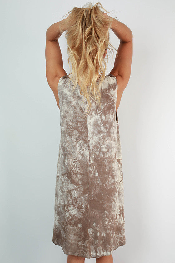 Road Trip Ready Tie Dye Tank Dress in Taupe