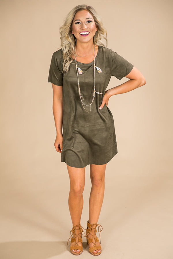 Soho Starlet Faux Suede Shift Dress in Deep Olive