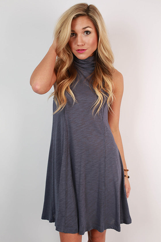 Romance & Twirls Tank Dress in Indigo Blue