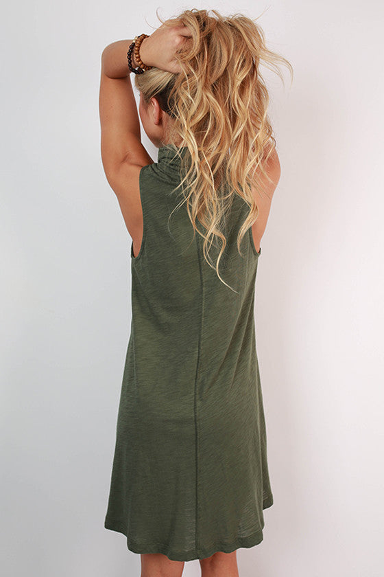 Romance & Twirls Tank Dress in Olive