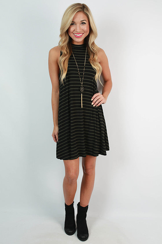Girl's Night Stripe Tank Dress in Black