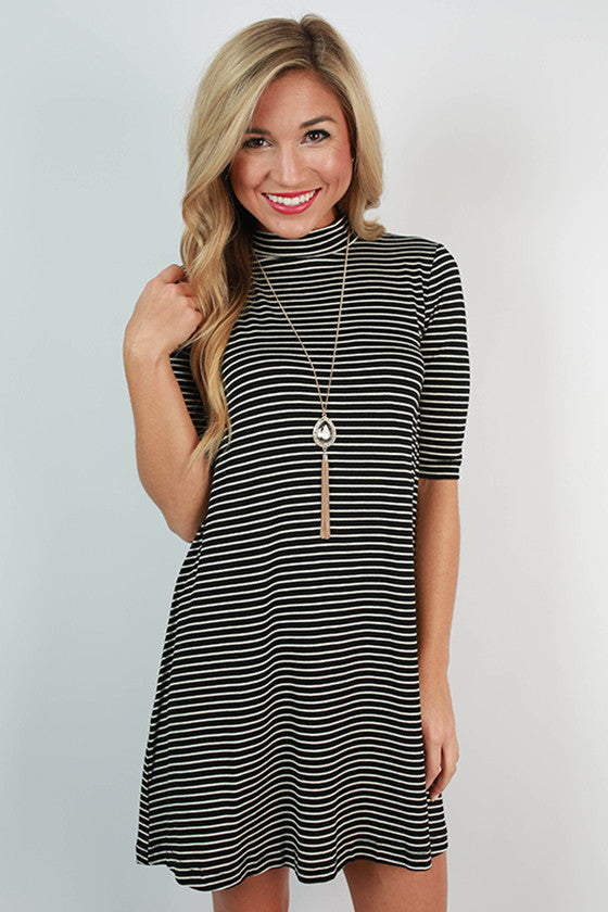 Happy Hour Stripe Shift Dress in Black
