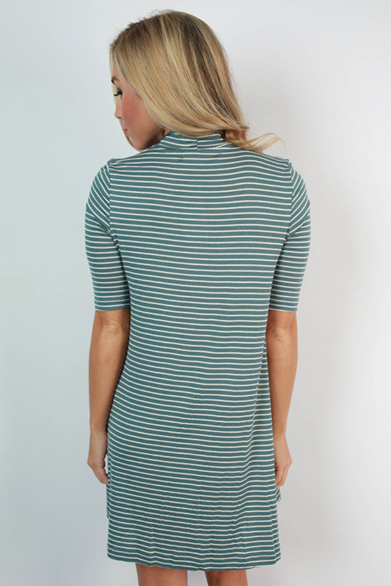Happy Hour Stripe Shift Dress in Teal