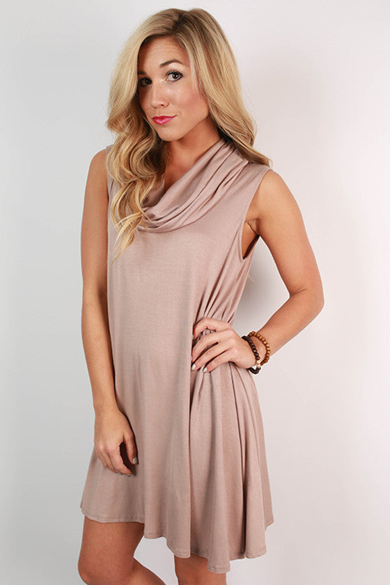 Coffee Date Tank Dress in Taupe