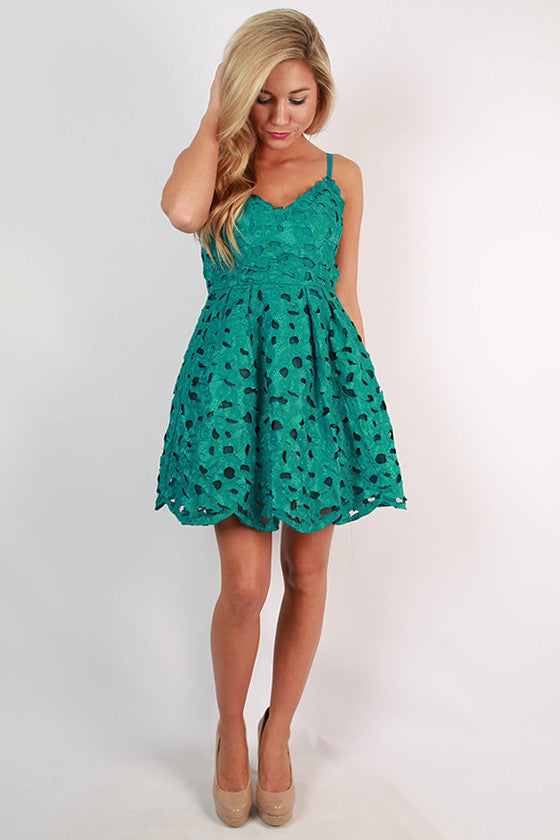 Graceful Lace Mini Dress in Teal