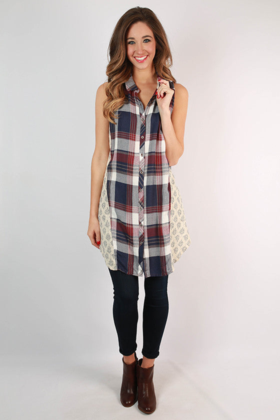 In a Heartbeat Plaid Tunic