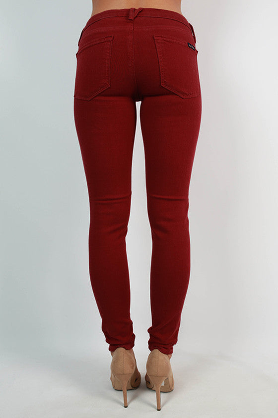 Distressed Ankle Skinny in Rusty Red