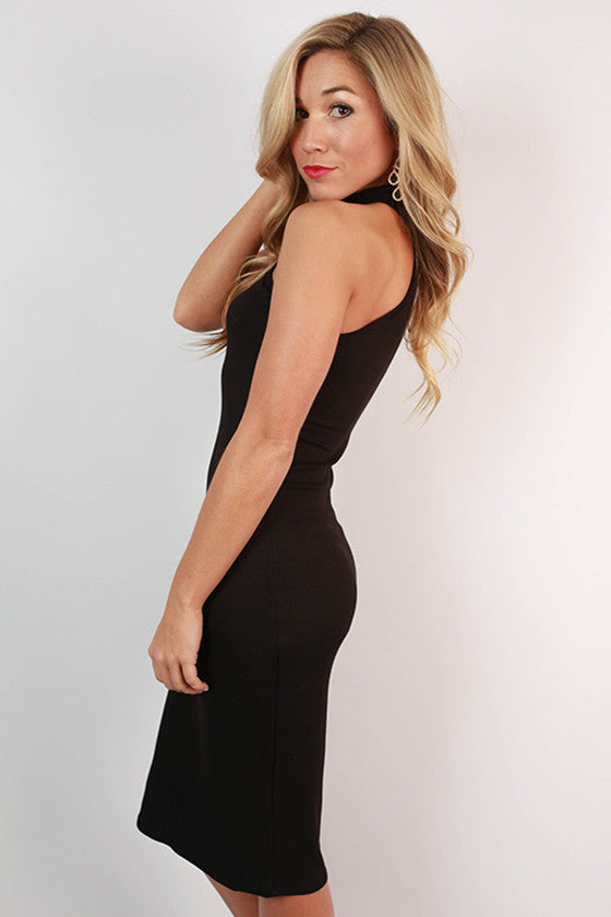 This Is Love Ribbed Dress in Black