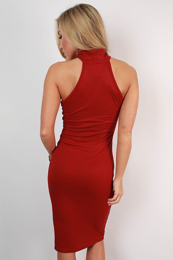 This Is Love Ribbed Dress in Rusty Red