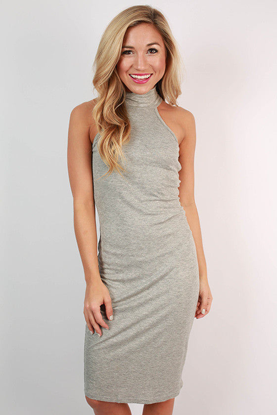 This Is Love Ribbed Dress in Grey