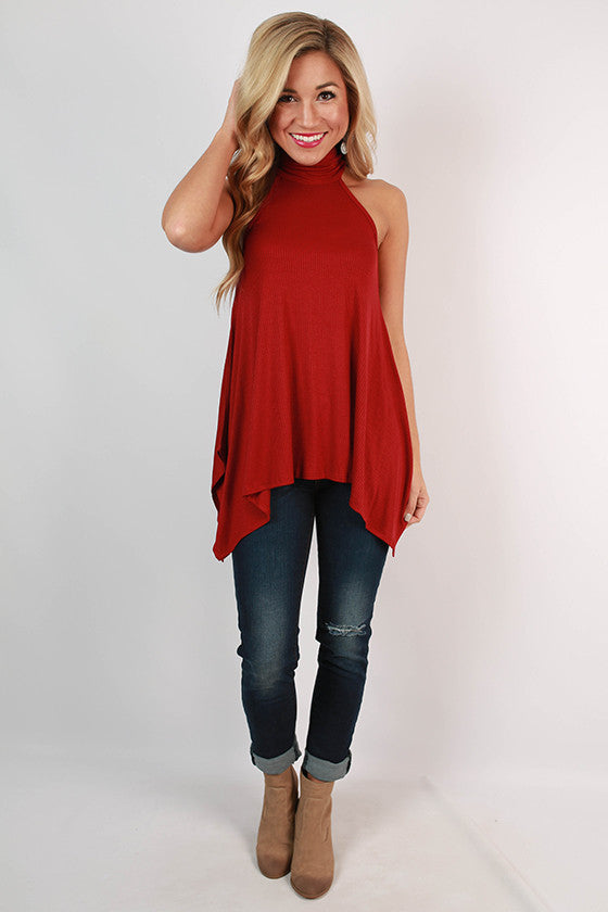 This Is Love Ribbed Tank in Rusty Red
