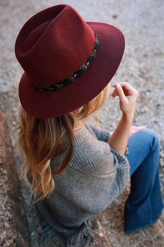 Fashion Week Feather Hat in Maroon